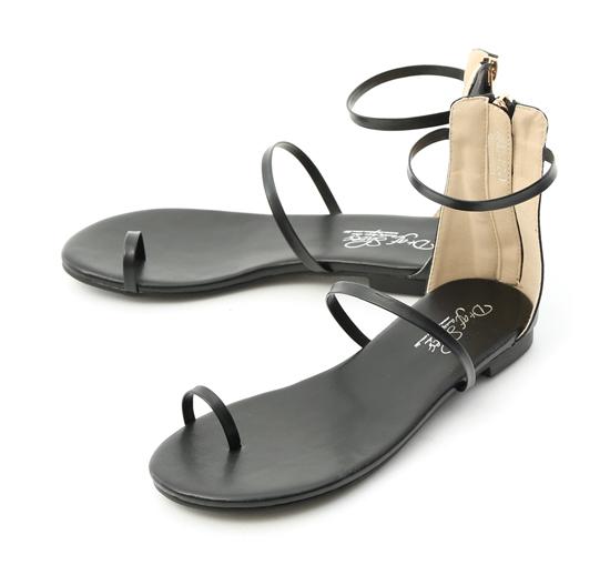 Toe Loop Zip-up Sandals Black