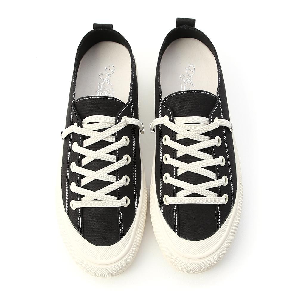 舒適日常.鬆緊綁帶休閒帆布鞋 時尚黑
