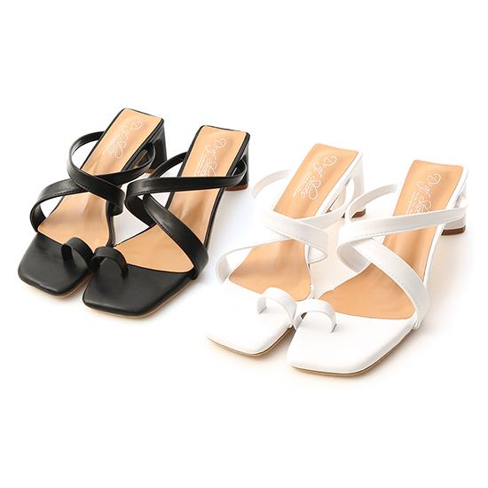 Cross Strap Toe Loop Heel Sandals Black
