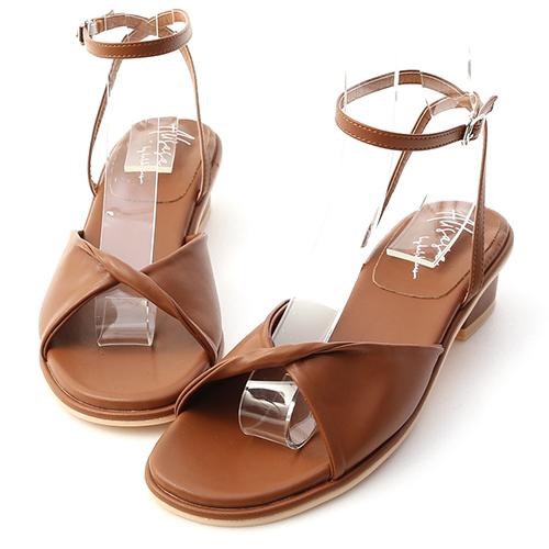 韓系質感.扭結設計繫踝低跟涼鞋