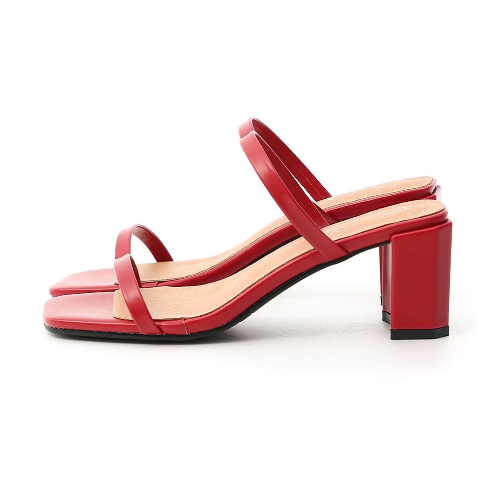 時尚美型.一字雙帶方頭高跟涼鞋 魅力紅