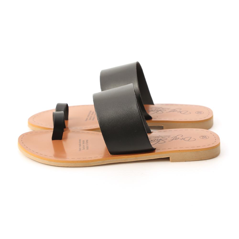 夏日涼氛.一字寬帶套指涼拖鞋 時尚黑