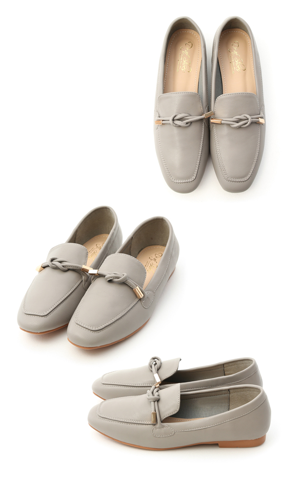 Tie Detail Soft Faux Leather Loafers Grey