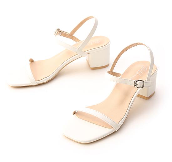 Square Toe Strappy Mid Heel Sandals White