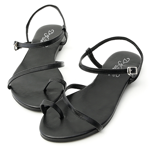 D+AF 盛夏百搭.套指斜帶繞踝平底涼鞋