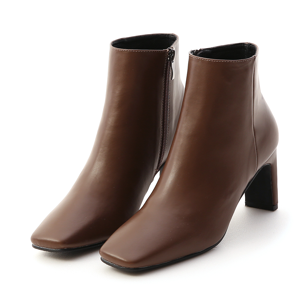 Square Toe Flat Heel Ankle Boots Brown