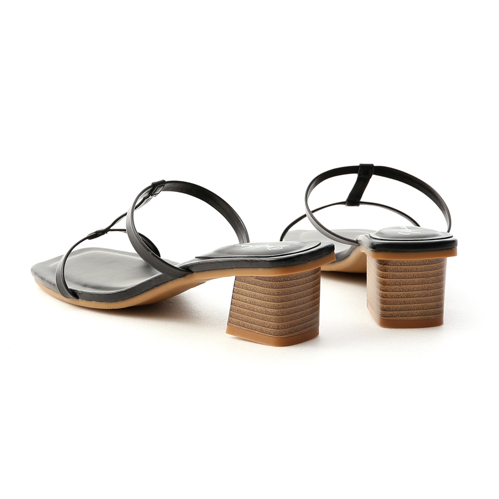 典雅美型.工字細帶木紋跟涼鞋 時尚黑