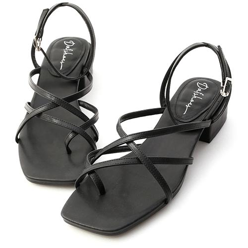 優雅夏氛.交叉細帶夾腳低跟涼鞋