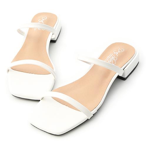 D+AF 簡約印象.一字雙帶方頭涼拖鞋