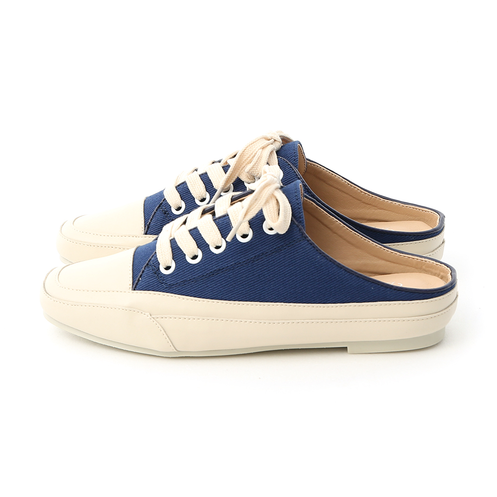 Square Toe Lace-up Canvas Mules Blue