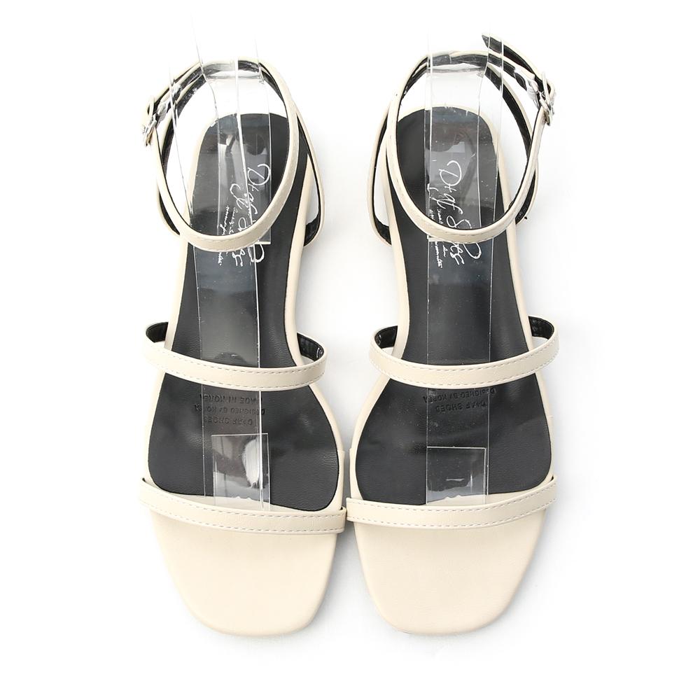 夏氛聚焦.雙帶繫踝方頭平底涼鞋 奶油米白