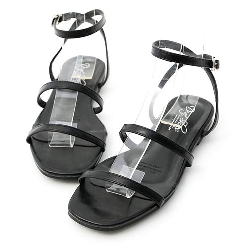 D+AF 時尚聚焦.雙帶繫踝方頭平底涼鞋