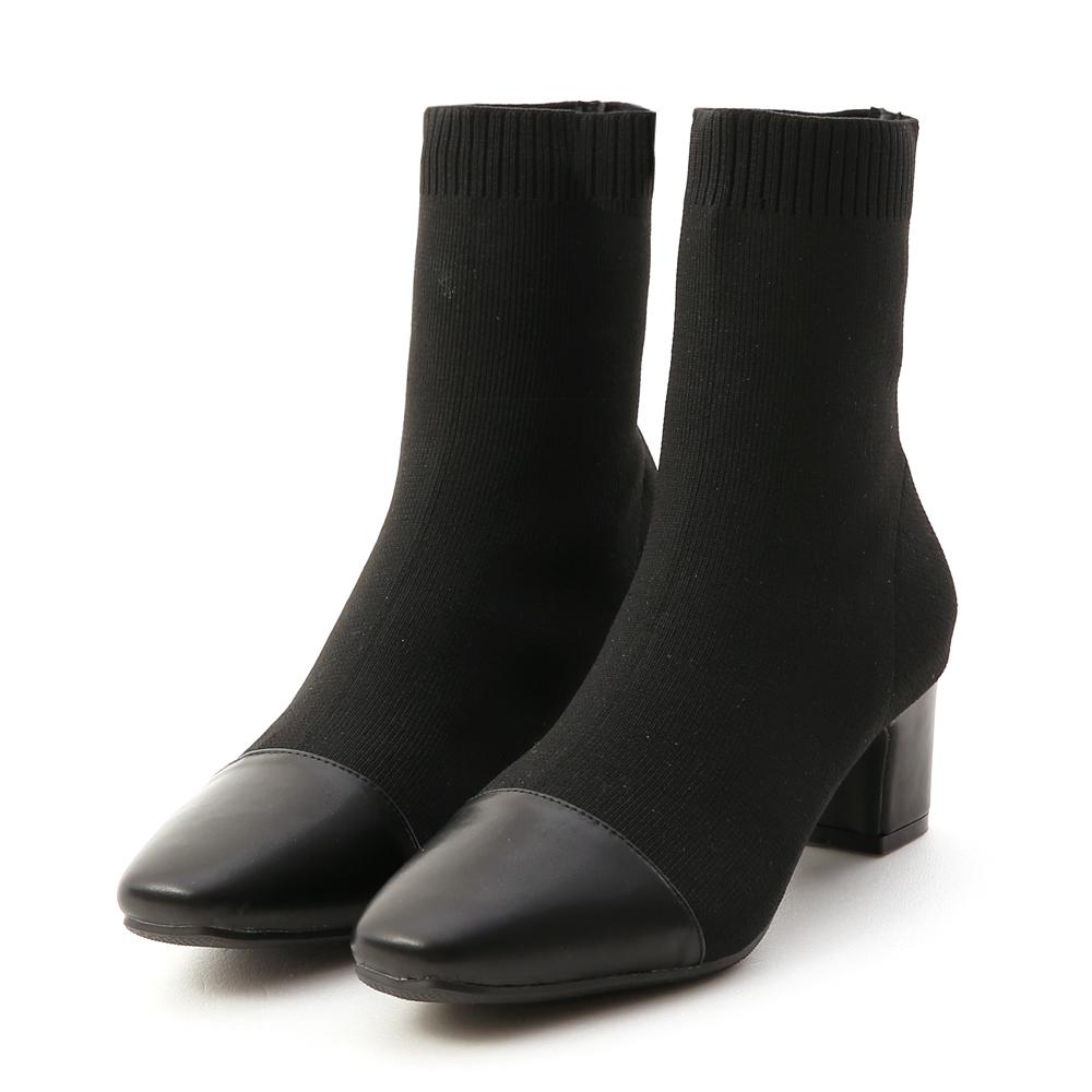 名媛魅力.小香風拼接針織中跟襪靴 時尚黑