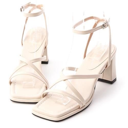 風格派對.一字交叉繫踝高跟涼鞋