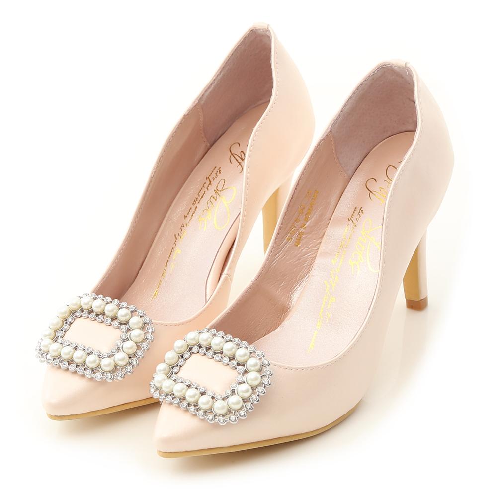 水鑽珍珠飾釦美形高跟鞋 甜漾粉
