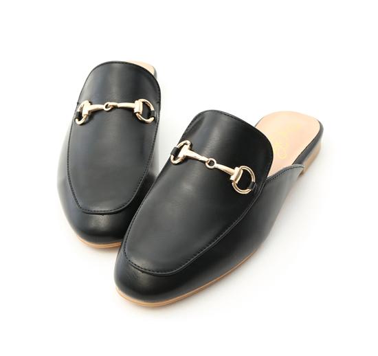 Elegant Horsebit Flat Mules Black