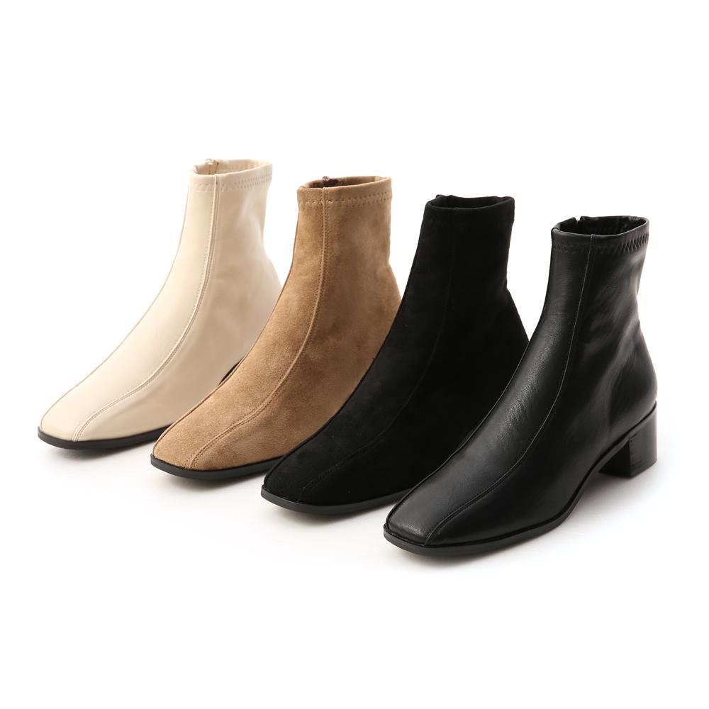獨特宣言.雙摺線設計低跟襪靴 質感黑絨