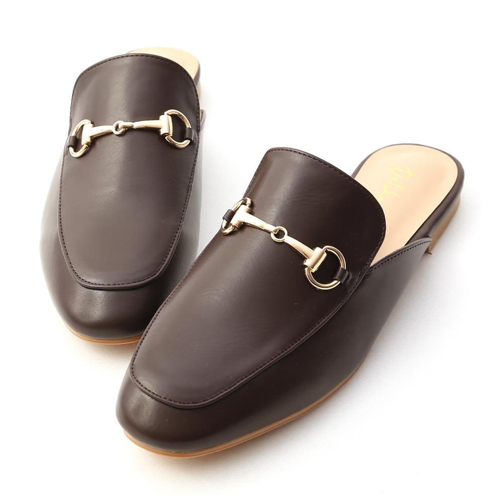 經典潮流.質感馬銜釦平底穆勒鞋 復古咖