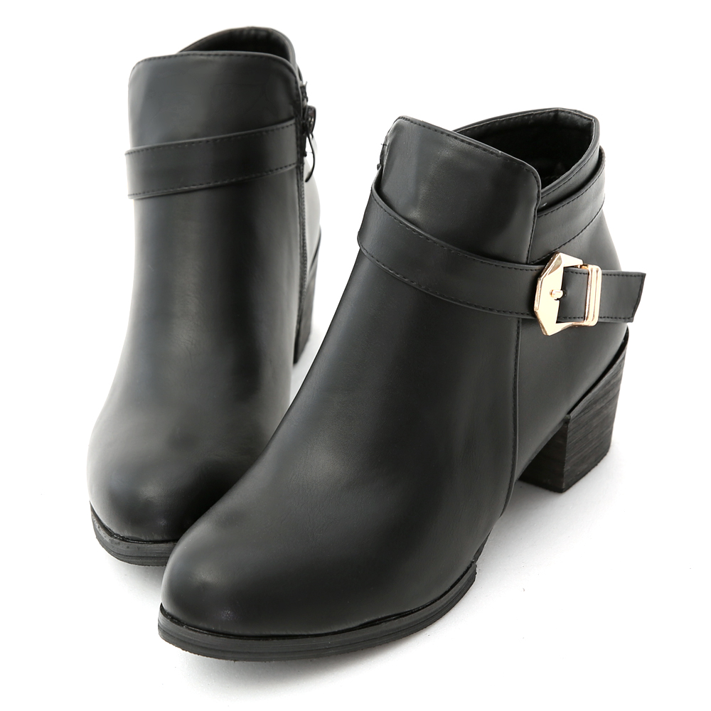 Metal Buckle Strap Block Heel Ankle Boots Black
