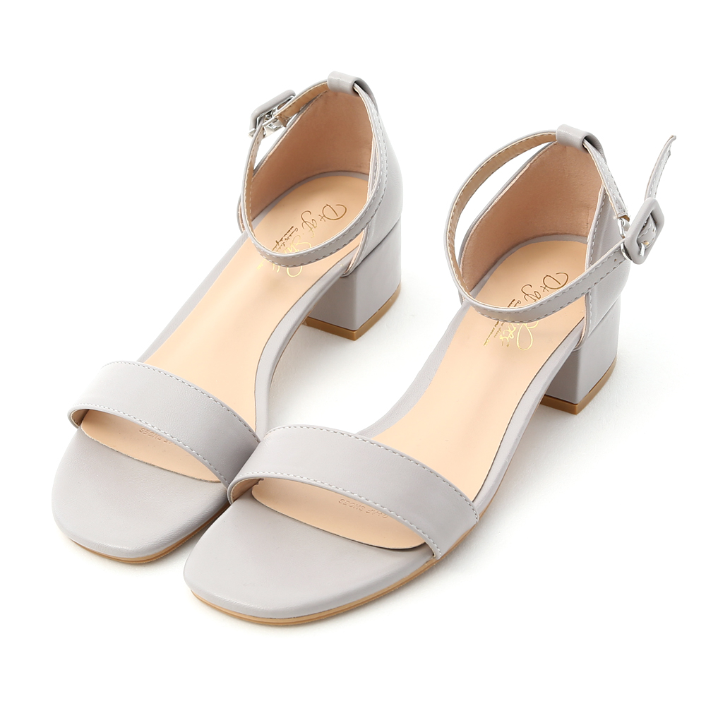 Ankle-Strap Low Heel Sandals Grey