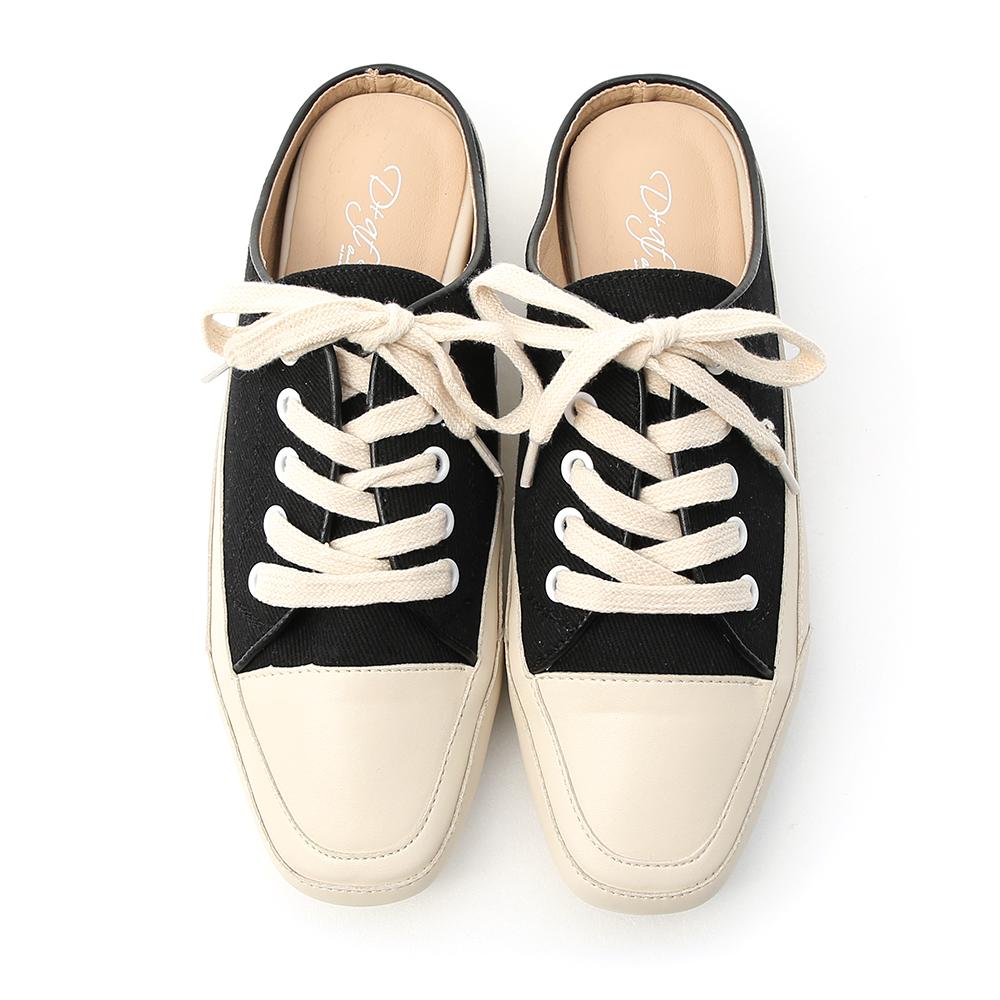 隨性有型.小方頭帆布休閒穆勒鞋 時尚黑