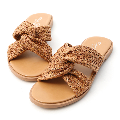 D+AF 涼感自在.編織料扭結平底拖鞋