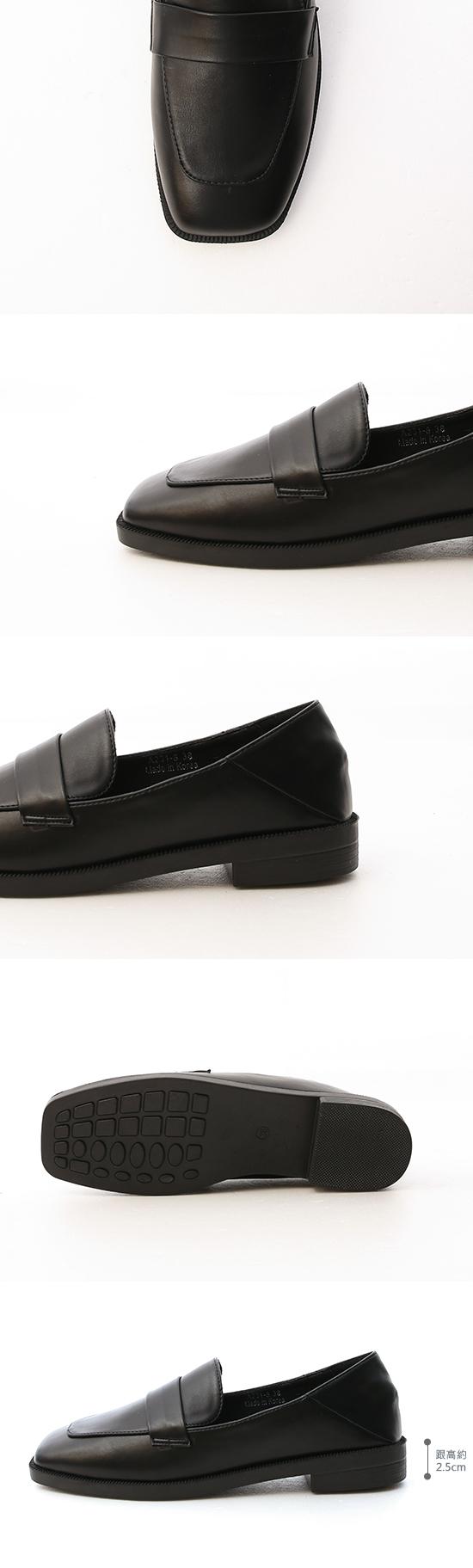 簡約經典.可後踩方頭低跟樂福鞋 時尚黑