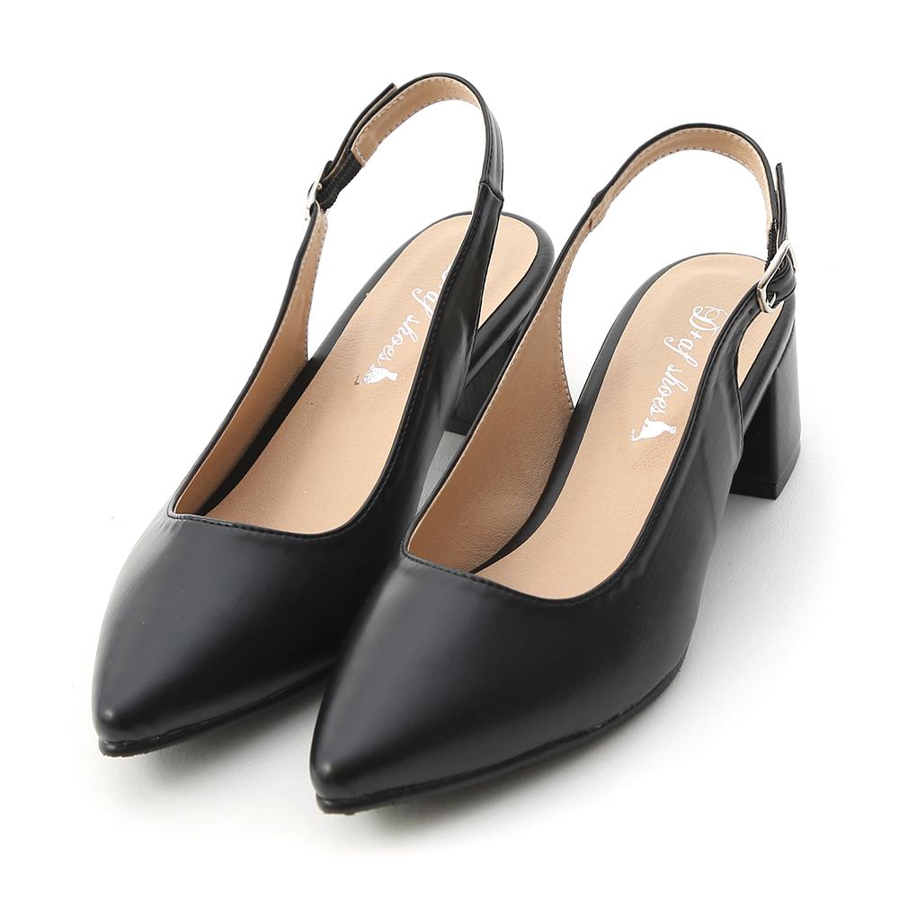 氣質滿分.MIT素面尖頭後空中跟鞋 時尚黑