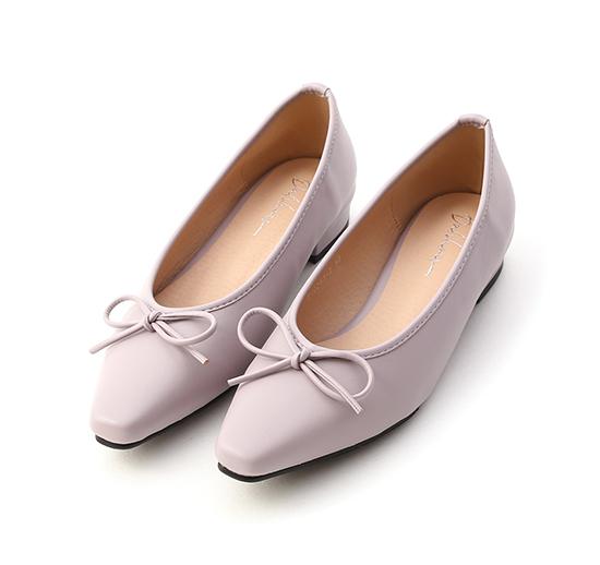 漫步女孩.尖頭低跟芭蕾娃娃鞋 薰衣紫