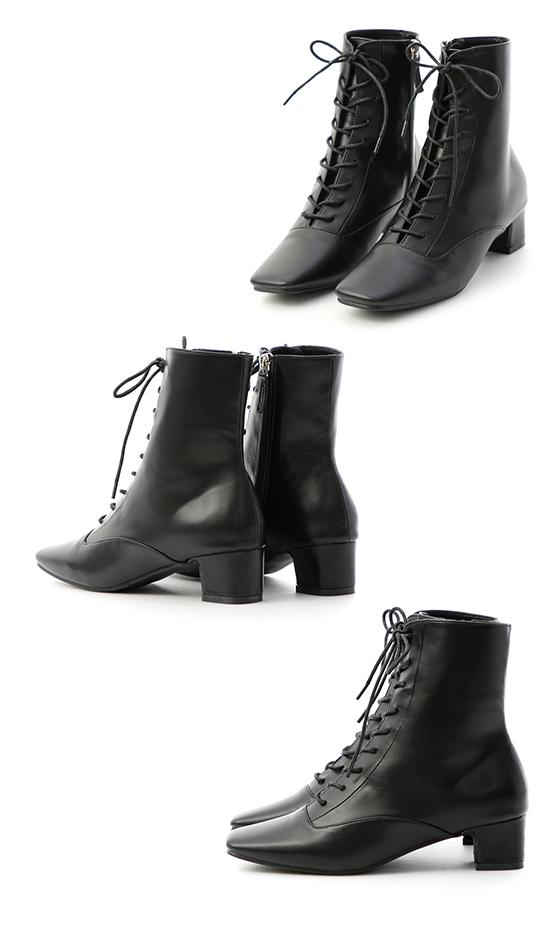 注目焦點.復古方頭綁帶中跟短靴 時尚黑