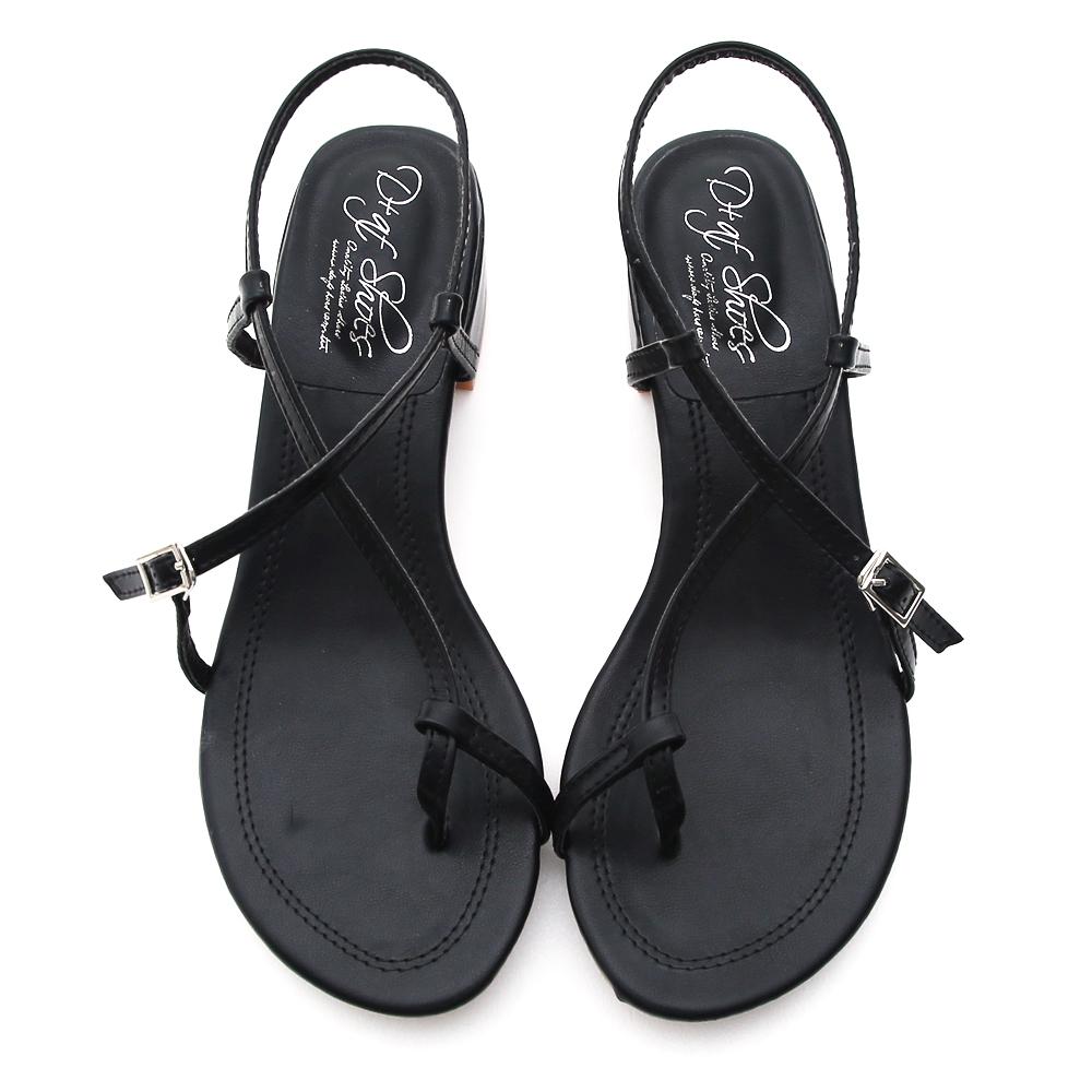 Cross Strap Toe Loop Sandals Black