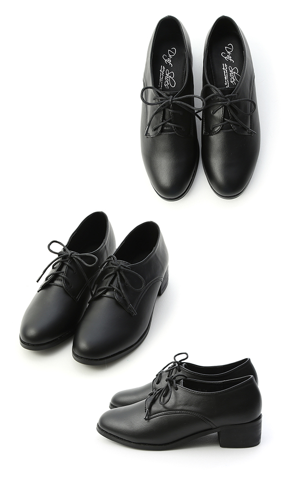 Lace-Up Stacked Heel Oxford Shoes Black