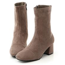 D+AF 極簡魅力.素面絨料美腿中跟襪靴