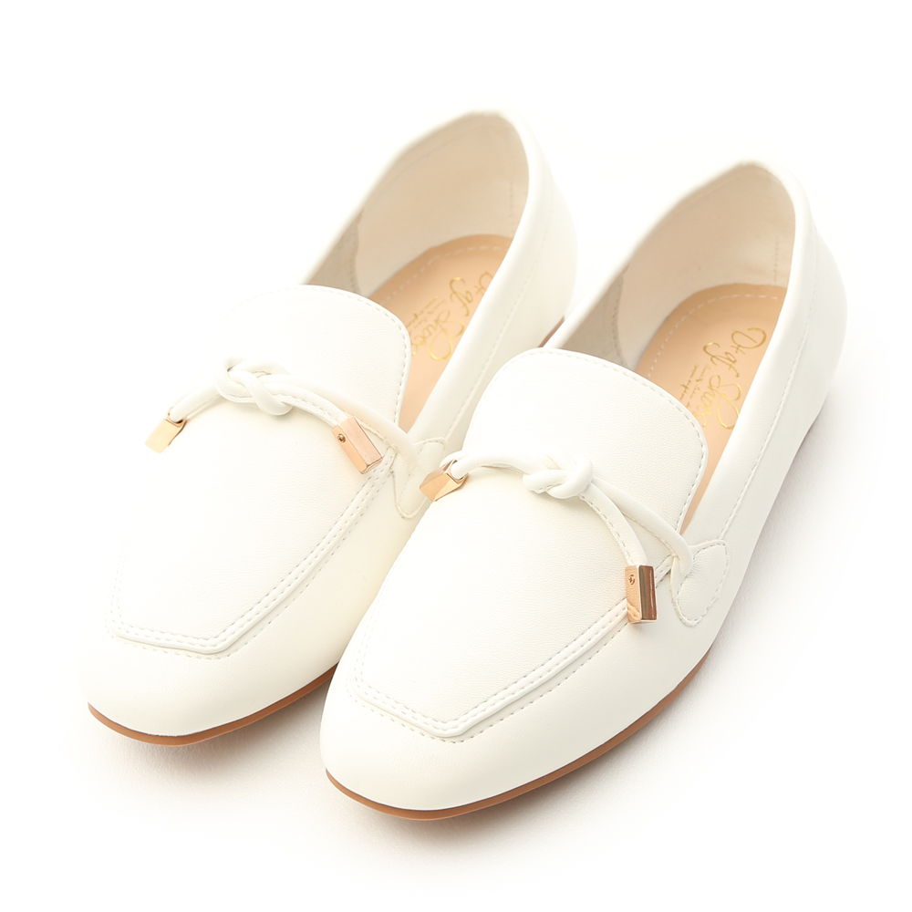 Tie Detail Soft Faux Leather Loafers White
