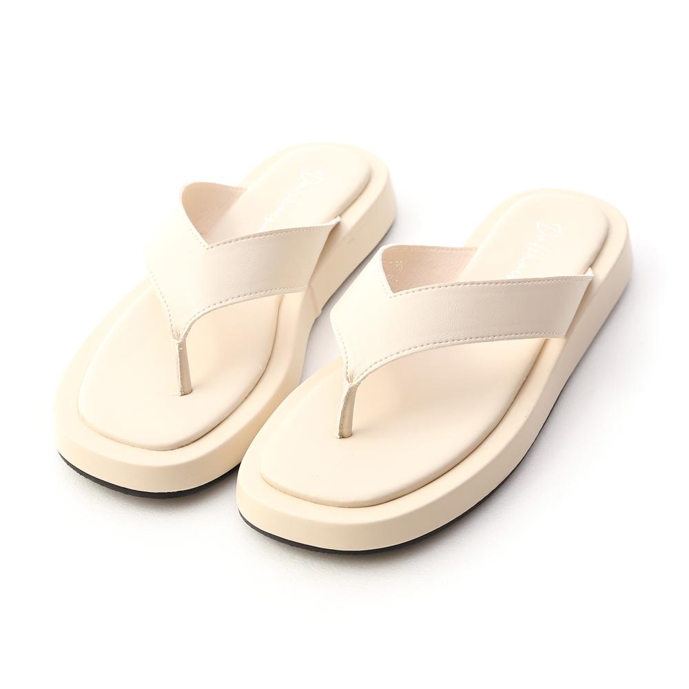 沙灘漫步.人字寬帶夾腳厚底拖鞋 香草米