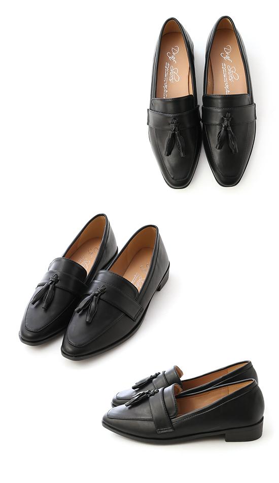 紳士風格.麥穗流蘇尖頭樂福鞋 時尚黑