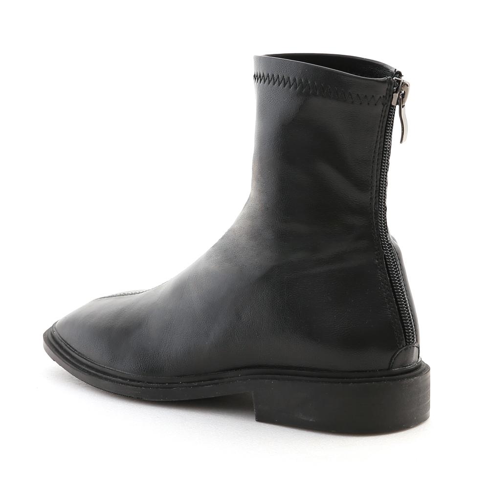 好評分享.中車線方頭低跟襪靴 時尚黑