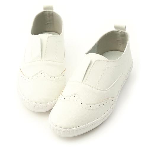 D+AF 純白生活.超軟縫線底無綁帶小白鞋