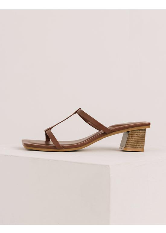 典雅美型.工字細帶木紋跟涼鞋 復古咖