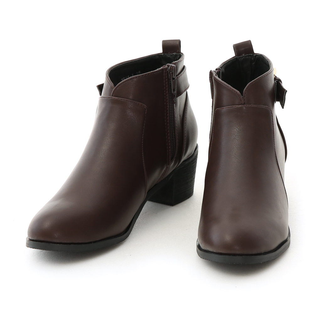 V-Cut Side Buckle Ankle Boots Brown