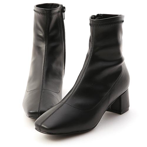 D+AF 秋冬定番.素面合腿中跟方頭襪靴