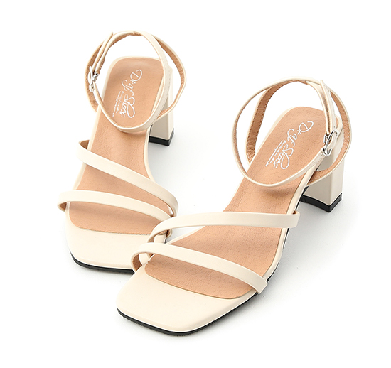 Block Heel Diagonal Strap Sandals Beige