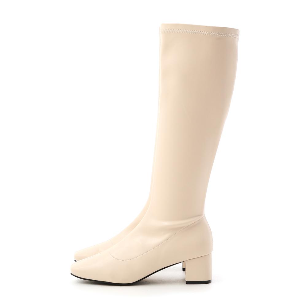 冬日女神.素面中車線合腿長靴 香草米
