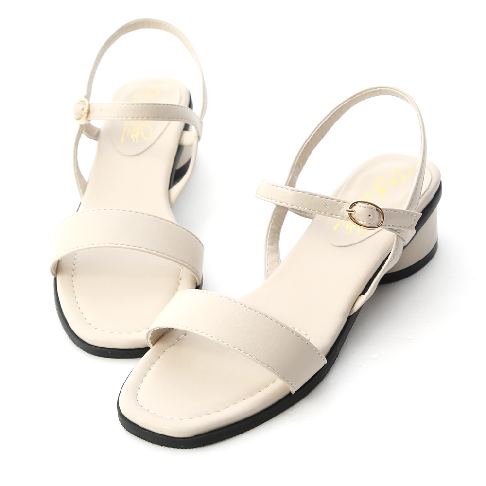 韓國同步.一字繫踝橢圓跟涼鞋 香草米白