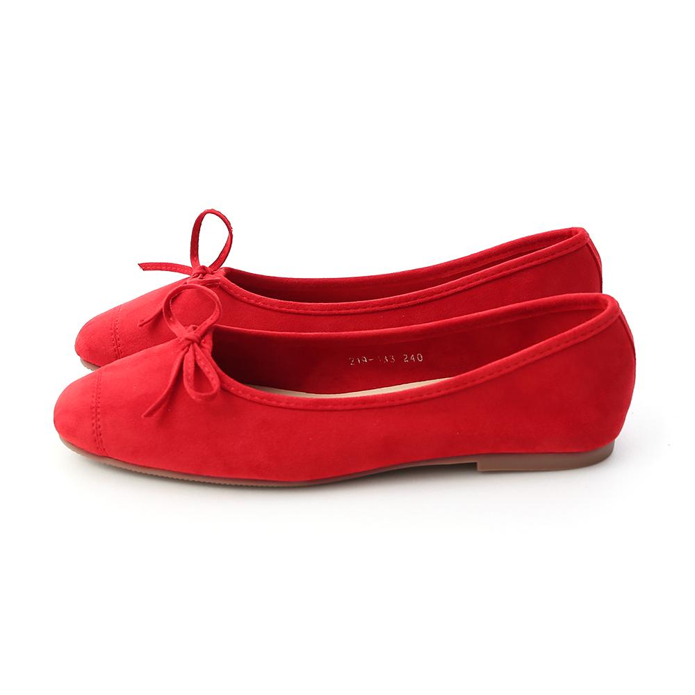 輕快舞曲.繽紛絨料芭蕾娃娃鞋 魅力紅