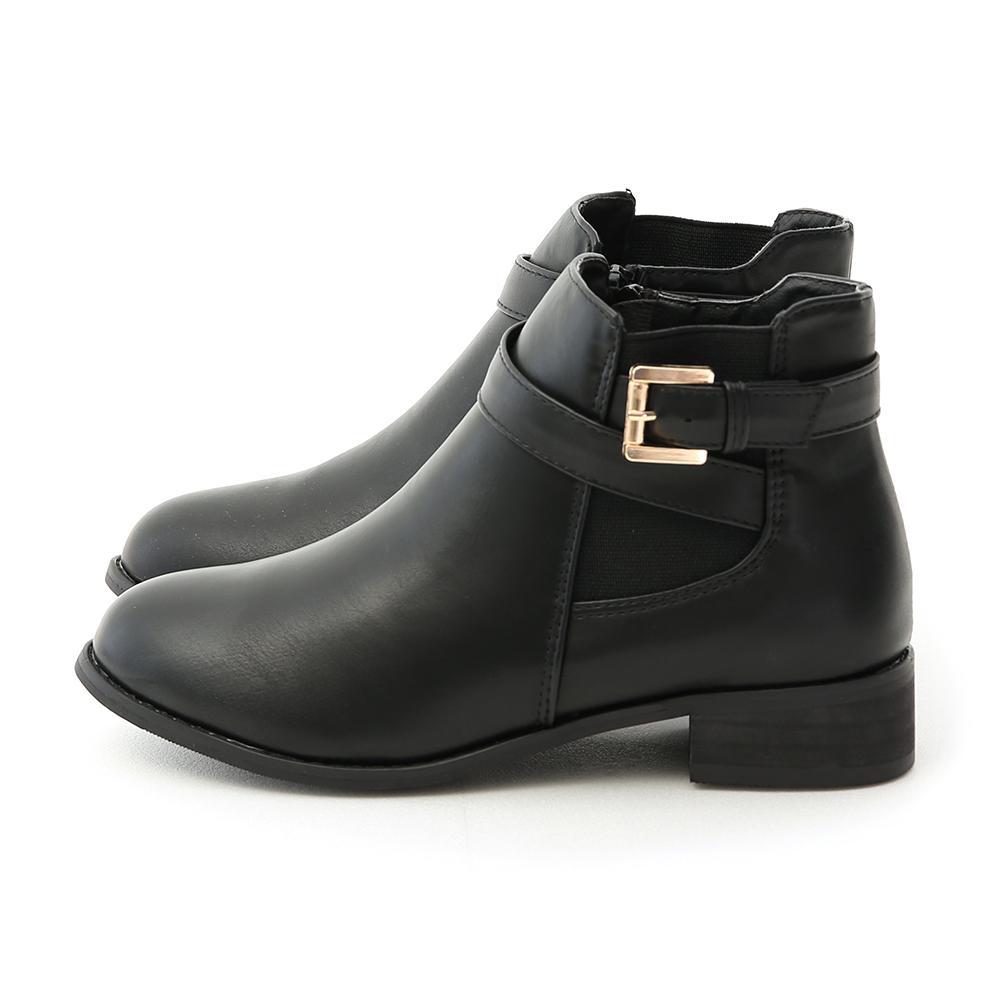 個性首選.側鬆緊金屬釦環繞帶短靴 時尚黑
