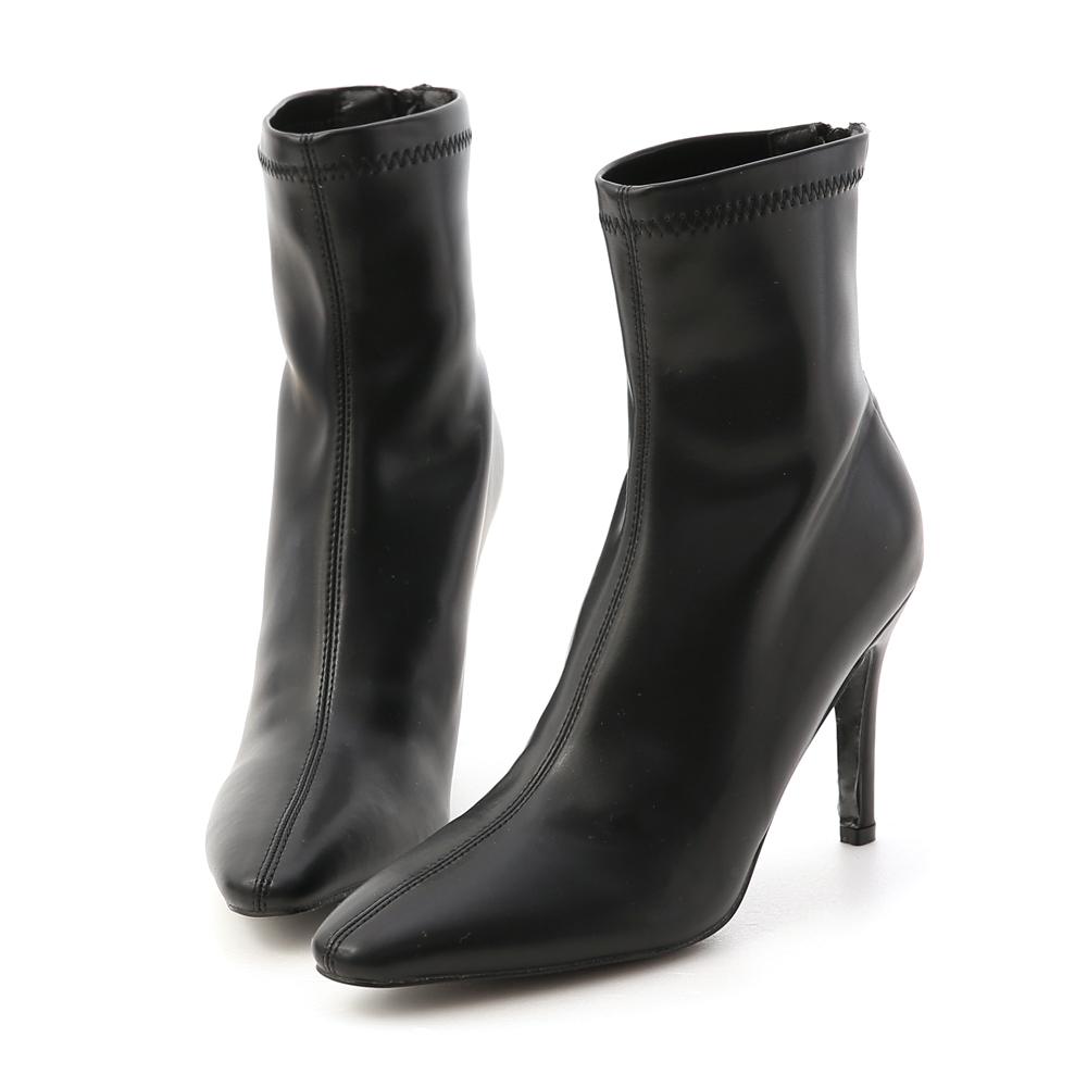 D+AF 時尚尖端.素面顯瘦感高跟襪靴