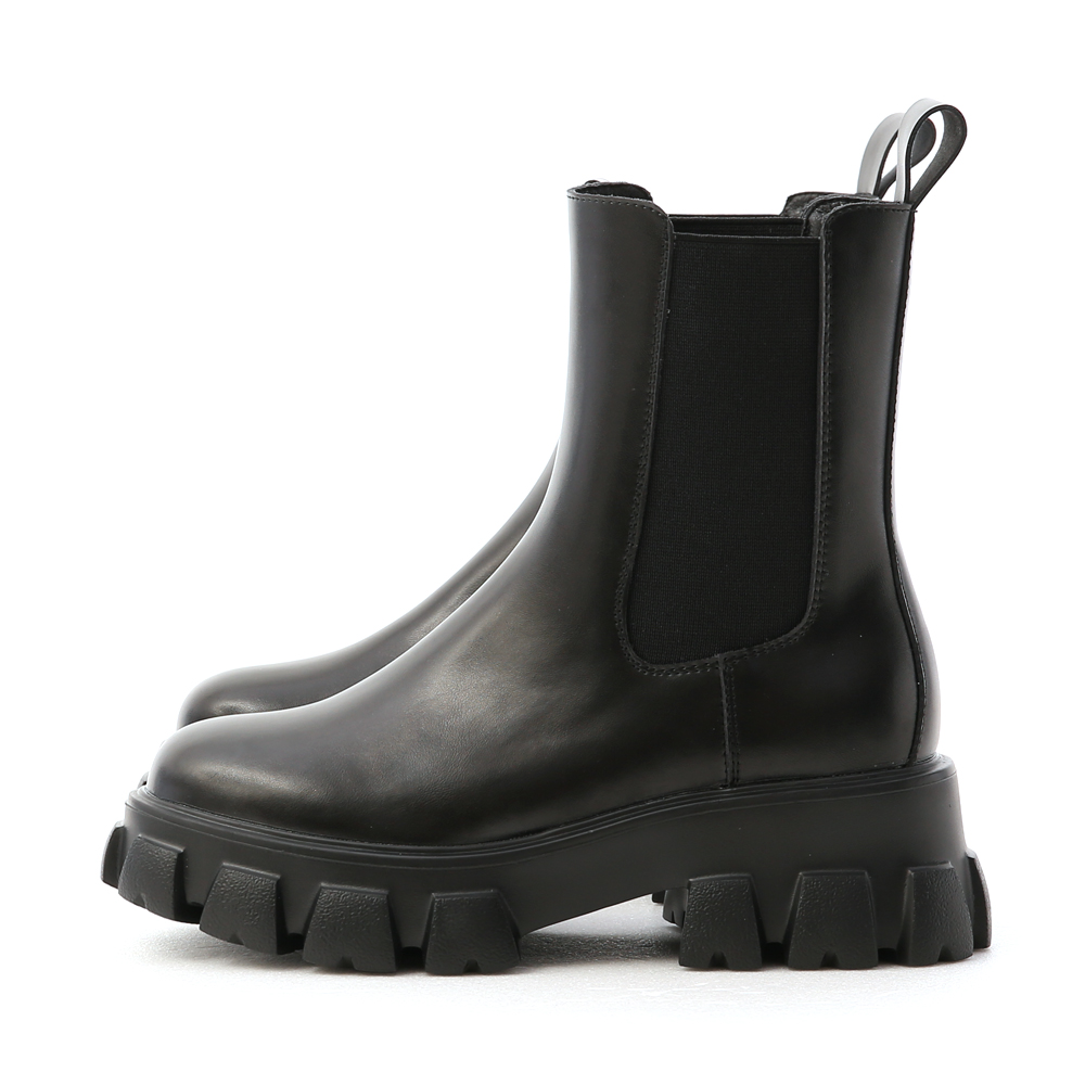 Lightweight Zigzag Chunky Sole Chelsea Boots Black