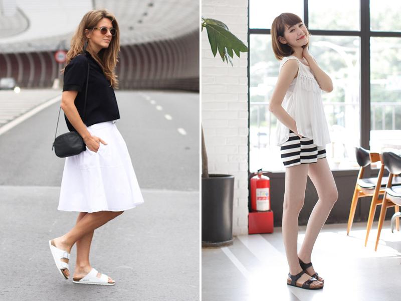 淑女風服飾只要掌握黑白配色原則,搭配休閒涼鞋也不違和!