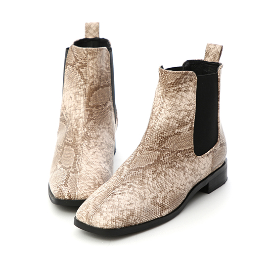 Square Toe Chelsea Boots Snake print